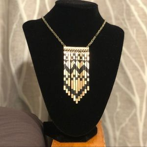Aztec black and gold long necklace
